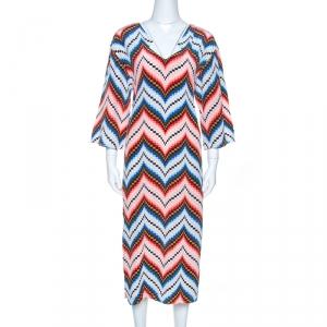Kenzo Multicolor Silk Chevron Pattern Midi Dress S - used