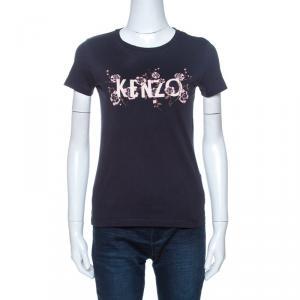 Kenzo Navy Blue Floral Logo Print Short Sleeve T-Shirt XS - used