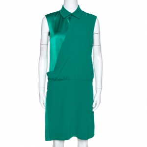 Kenzo Green Crepe & Satin Paneled Asymmetric Draped Dress M - used