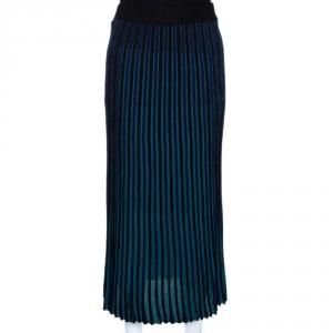 Kenzo Teal & Black Knit Pleated Midi Skirt S