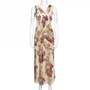 Kenzo Beige Polka Textured Floral Print Silk Draped Maxi Dress S - used