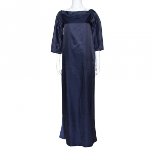 Kenzo Navy Blue Cotton Blend Maxi Dress S - used