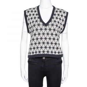 Kenzo Black Patterned Wool Knit Cropped Sleeveless Sweater L - used
