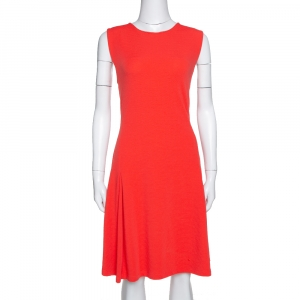 Kenzo Bright Coral Rib Knit Zip Detail Sleeveless Flared Dress XL - used