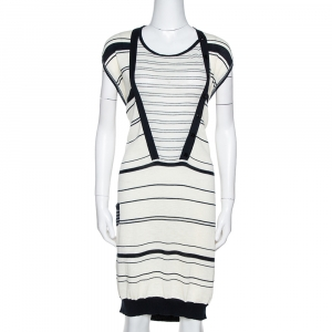 Kenzo Off White & Navy Striped Cotton Knit Sweater Dress L - used