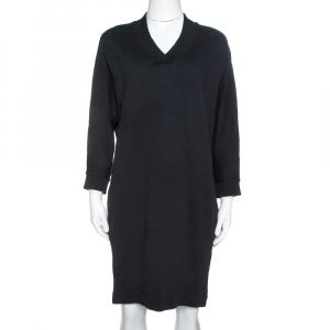Kenzo Black Logo Print Cotton Batwing Sleeve Sweatshirt Dress M