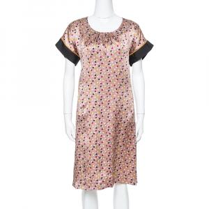 Kenzo Multicolor Abstract Polka Dot Print Silk Shift Dress M - used