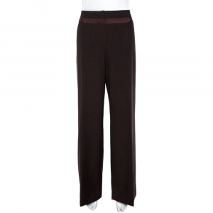 Kenzo Brown Wool Wide Leg Trousers L