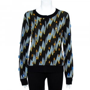 Kenzo Black Lightning Bolt Jacquard Wool Embellished Cardigan L