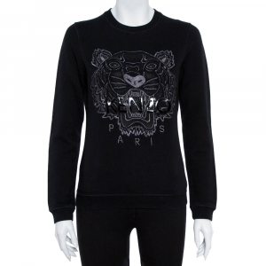 Kenzo Black Cotton Tiger Metallic Embroidered Sweatshirt S used