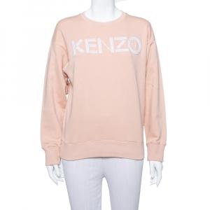 Kenzo Salmon Pink Logo Embroidered Knit Sweatshirt S