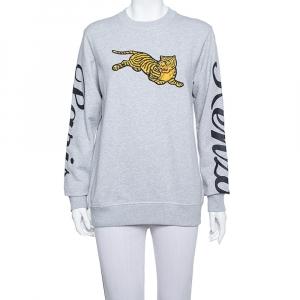 Kenzo Grey Knit Flying Tiger Embroidery Detail Sweatshirt XS