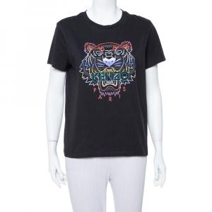 Kenzo Black Gradient Tiger Printed Cotton Crewneck T Shirt M - used