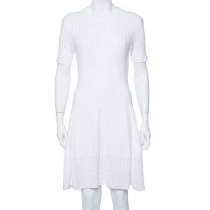 Kenzo White Perforated Knit Fit & Flare Dress L - used
