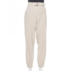 Kenzo Beige Crepe Elastic Detail Belted Paneled Trousers L