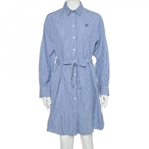 Kenzo Blue & White Striped Cotton Belted Shirt Dress S