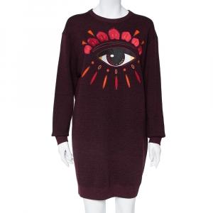 Kenzo Burgundy Wool Eye Embroidered Sweater Dress M - used