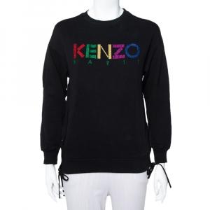 Kenzo Black Knit Logo Embroidered Side Zip Detail Sweatshirt S - used