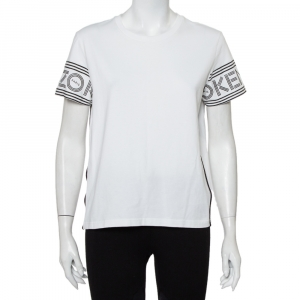 Kenzo White Cotton Logo Printed Sleeve Crewneck T-Shirt M