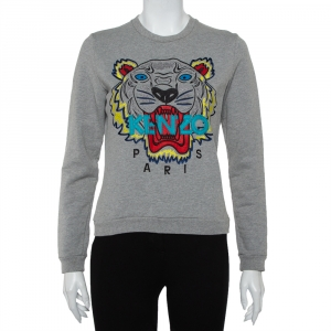 Kenzo Grey Tiger Logo Embroidered Cotton Crewneck Sweatshirt M