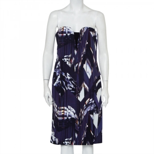 Kenzo Blue Textured Abstract Printed Strapless Dress L - used