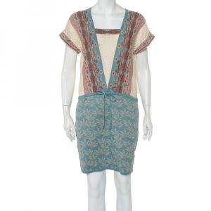 Kenzo Blue Floral Jacquard Knit & Pointelle Paneled Oversized Dress S - used