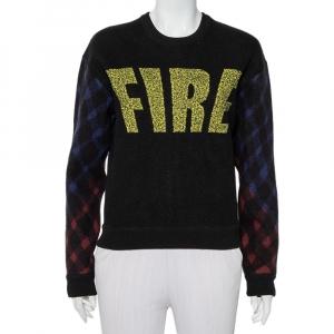 Kenzo Black Wool Fire Printed Zip Detail Sweater L - used