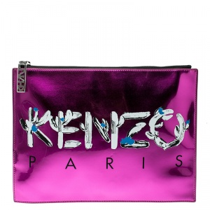 Kenzo Pink/Black Patent Leather and Leather Logo Printed Pouch