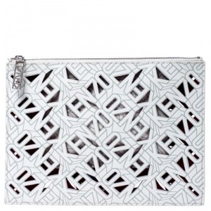 Kenzo White Cut Flying Leather Logo Zip Pouch