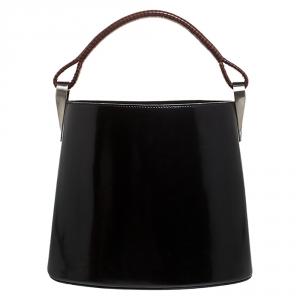 Kenzo Black Patent Leather Pagodon Bucket Bag