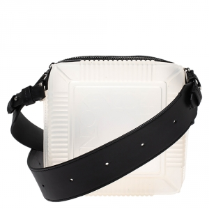 Kenzo White Silicone and Leather Square Crossbody Bag