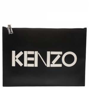 Kenzo Black/White Leather Zipped Pouch