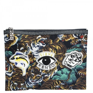 Kenzo Multicolor Nylon Flying Tiger Zip Pouch