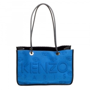 Kenzo Blue/Black Perforated Fabric and Leather Shopper Tote