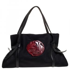 Kenzo Black Nylon and Leather Koi Fish Shoulder Bag