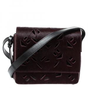Kenzo Burgundy/Black Calfhair and Leather Lazer Cut Crossbody Bag