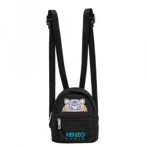 Kenzo Black Nylon Mini Tiger Logo Backpack