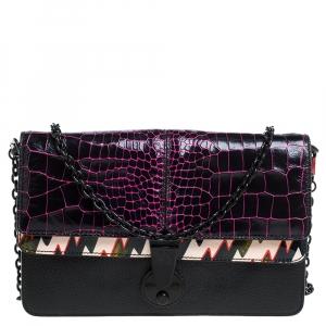 Kenzo Multicolor Croc Embossed Leather Le Diz Huit Shoulder Bag