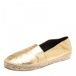 Kenzo Gold Metallic Tiger Embossed Leather Tiger Espadrilles Size 41