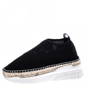 Kenzo Black Knit Stretch Fabric Espadrille Slip On Sneaker Size 37