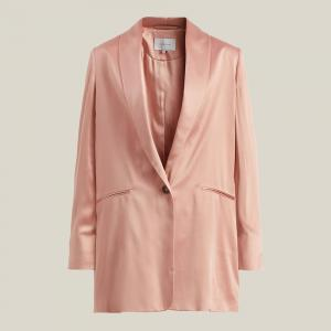 La Collection Pink Amandine Oversized Silk-Satin Blazer Size L