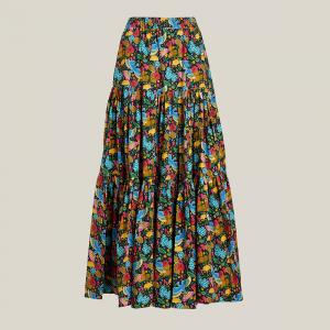 La DoubleJ Multicoloured Floral Print Tiered Cotton Maxi Skirt Size L