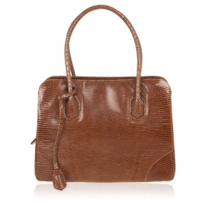 Lana Marks Brown Lizard Large Jet Tote