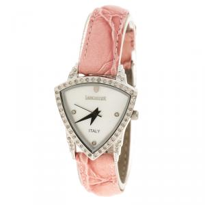 Lancaster White Mother of Pearl stainless Steel Diamond Accented Women's Wristwatch 26 mm