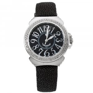 Lancaster Black Stainless Steel Stingray Leather Pillola REF.0348L Women's Wristwatch 37 mm