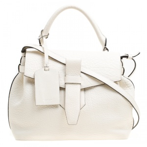 Lancel Off White Grained Leather Medium Charlie De Lancel Top Handle Bag