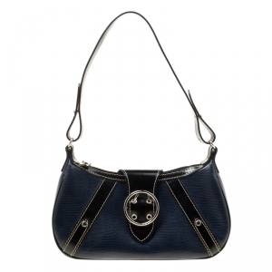 Lancel Dark Blue Lizard and Leather Shoulder Bag