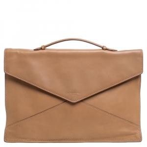 Lancel Tan Leather Envelope Flap Clutch Bag