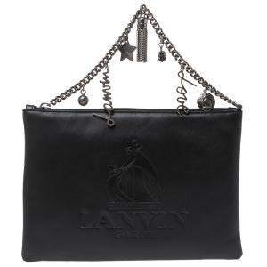 Lanvin Black Leather Chain Clutch