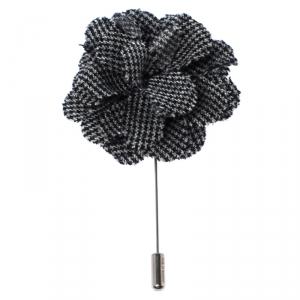 Lanvin Check Flower Wool Woven Silver Tone Stick Pin Brooch